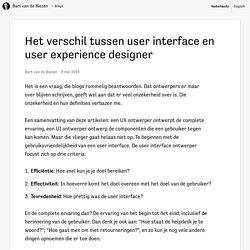 Het verschil tussen user interface en user experience designer · Bart van de Biezen