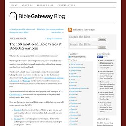 The 100 most-read Bible verses at BibleGateway.com