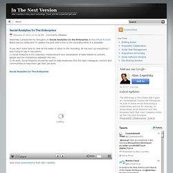 Social Analytics In The Enterprise