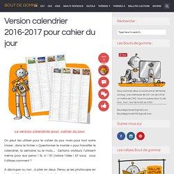 Version calendrier 2016-2017 pour cahier du jour