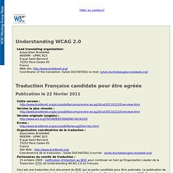 Version française, 22 février 2011 de Comprendre les WCAG 2.0