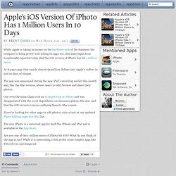 1 million d'utilisateurs d'iphoto pour iOS en 10 jours