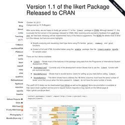 Version 1.1 of the likert Package Released to CRAN
