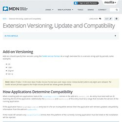 Extension Versioning, Update and Compatibility - MDC