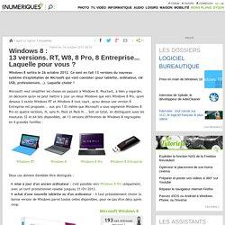 Windows 8 : 13 versions. RT, W8, 8 Pro, 8 Entreprise... Laquelle pour vous ?