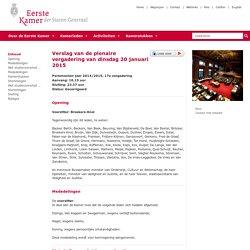 Verslag van de plenaire vergadering van dinsdag 20 januari 2015 (gecorrigeerd)