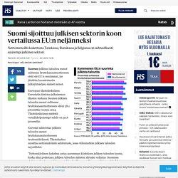 Suomi sijoittuu julkisen sektorin koon vertailussa EU:n neljänneksi