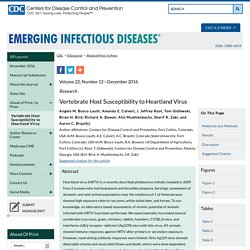 CDC EID - DEC 2016 - Vertebrate Host Susceptibility to Heartland Virus