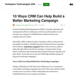 10 Ways CRM Can Help Build a Better Marketing Campaign