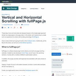 Vertical and Horizontal Scrolling with fullPage.js