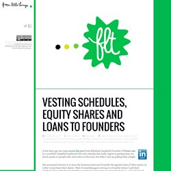 Vesting schedules, equity shares and loans to founders
