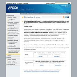 AFSCA 23/12/16 Nouvelle législation en matière d'utilisation de médicaments vétérinaires au sein de l'exploitation agricole - Politique belge de lutte contre l'antibiorésistance.