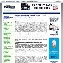 VETERINARIARGENTINA - AVRIL 2020 - Presencia de salmonella en huevos de granjas particulares de Asturias. España.