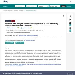 MOLECULES 17/12/19 Advances in the Analysis of Veterinary Drug Residues in Food Matrices by Capillary Electrophoresis Techniques