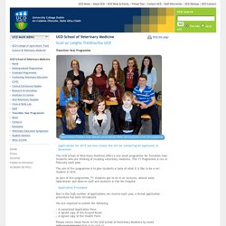 UCD School of Veterinary Medicine: Transition Year Programme