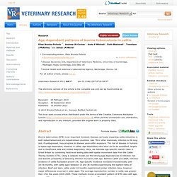 Veterinary Research 2013, 44:97 (16 October 2013) Age-dependent patterns of bovine tuberculosis in cattle