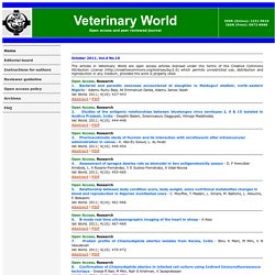VETERINARY WORLD - OCT 2011 - Au sommaire notamment: Studies of the Antigenic relationships between Bluetongue virus serotypes 2