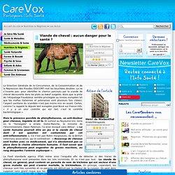 CAREVOX 11/02/13 Viande de cheval : aucun danger pour la santé ?