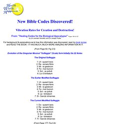 New Bible Codes: Vibration rates for Creation & Destruction!
