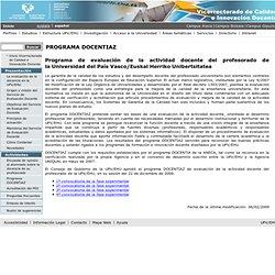 Servicio de Evaluación Docente - Portal del Vicerrectorado de Calidad e Innovación Docente (UPV/EHU) - Programa de evaluación de la actividad docente del profesorado de la UPV/EHU
