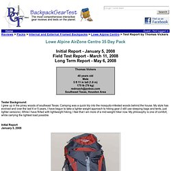 Lowe Alpine Centro Test Report by Thomas Vickers - Backpackgeartest.org