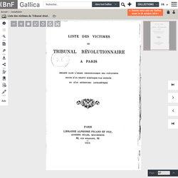 Liste des victimes du Tribunal révolutionnaire à Paris
