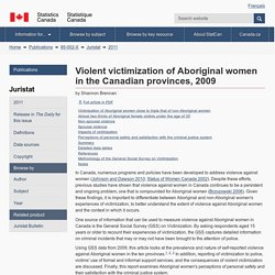 Violent victimization of Aboriginal women in the Canadian provinces, 2009