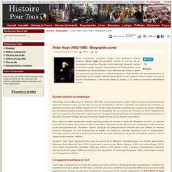 Victor Hugo (1802-1885) - Biographie courte