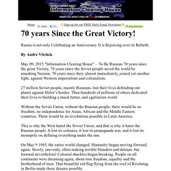 70 years Since the Great Victory!    :   Information Clearing House