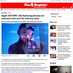 Apple VICTORY: Old Samsung phones not sold any more can't be sold any more