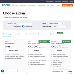 ZOOM - webinaires - Plans and Pricing