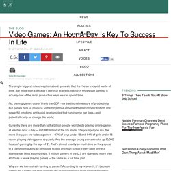Video Games: An Hour A Day Is Key To Success In Life