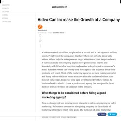 Video Can Increase the Growth of a Company
