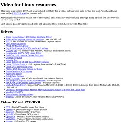 Video for Linux resources (Intro)