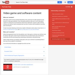 Video game and software content - YouTube Help