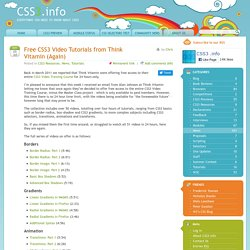 Free CSS3 Video Tutorials from Think Vitamin (Again)