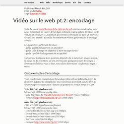 Vidéo sur le web pt.2: encodage — ms-studio.net