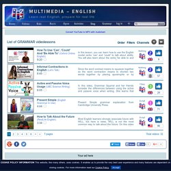 List of GRAMMAR videolessons - from Multimedia-English (learn real English)