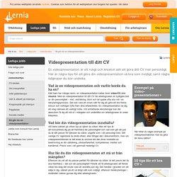 Så gör du en videopresentation till ditt CV - lernia.se