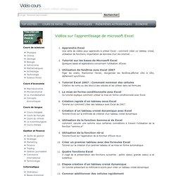 Vidéos sur l'apprentissage de microsoft Excel