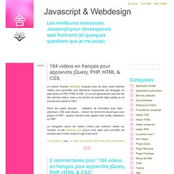 184 vidéos en français pour apprendre jQuery, PHP, HTML & CSS