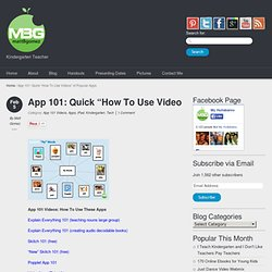 "App 101: Quick ""How To Use Videos"" of Popular Apps"