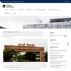 BHARATI VIDYAPEETH UNIVERSITY, PUNE ADMISSION 2020