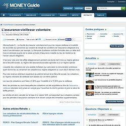 L'assurance-vieillesse volontaire - Money Guide