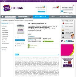 -NF V01-003 (juin 2010) Lignes directrices pour la réalisation des tests de vieillissement microbiologique (contamination nature