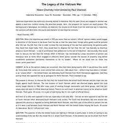The Legacy of the Vietnam War, Noam Chomsky interviewed by Paul Shannon
