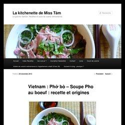 Vietnam : Phở bò - Soupe Pho au boeuf : recette et origines - La kitchenette de Miss TâmLa kitchenette de Miss Tâm