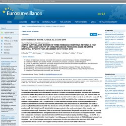 EUROSURVEILLANCE 23/06/16 Active surveillance scheme in three Romanian hospitals reveals a high prevalence and variety of carbapenamase-producing Gram-negative bacteria: a pilot study, December 2014 to May 2015.
