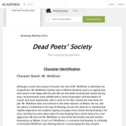Post Viewing Analysis of film Dead Poets Society (1989)