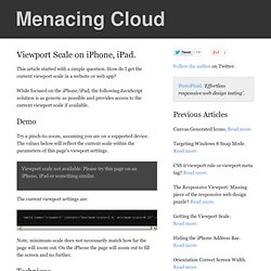 Viewport scale on iPhone, iPad.